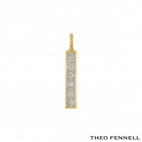 Theo Fennell Yellow Gold Diamond Strip Pendant 1.20ct G/VS1